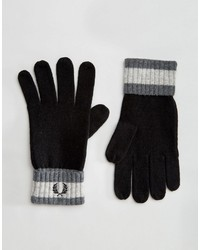 Fred Perry Tipped Gloves In Lambswool