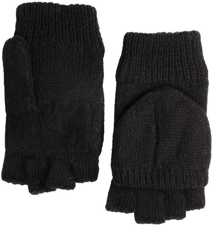 Ragg Grand Sierra Wool Mittens Convertible Fingerless Gloves Thinsulate Suede Palm