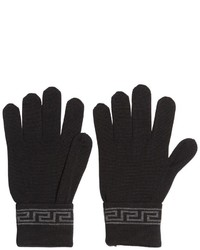 Versace Greek Motif Wool Silk Knit Gloves