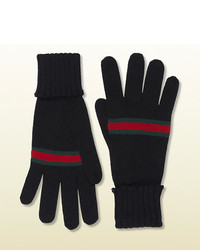 Gucci Black Wool Gloves With Web