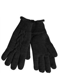 Isotoner Black Cable Knit Gloves With Microluxe Lining