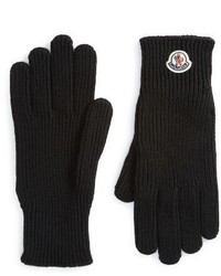 Moncler Logo Patch Knit Wool Gloves