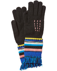 Wool gloves with striping and fringe medium 764194