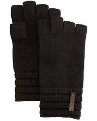 Cole Haan Wool Ribbed Fingerless Gloves Black