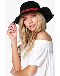Boohoo Anna Plait Trim Wool Floppy Hat