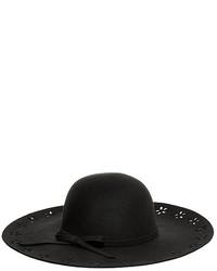 Betsey Johnson Floral Cut Out Felt Floppy Hat