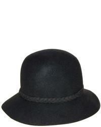 Nine West Black Braid Trim Wool Felt Cloche
