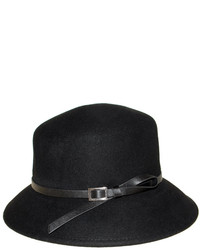 Nine West Black Buckle Accent Wool Trench Coat Hat