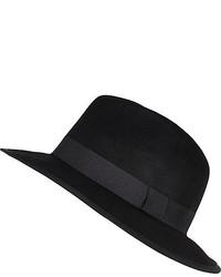River Island Black Felt Fedora Hat