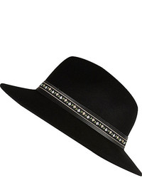 River Island Black Floral Trim Fedora Hat