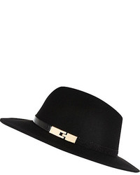 ... River Island Black Metal Trim Fedora Hat 376ebd0a07e8