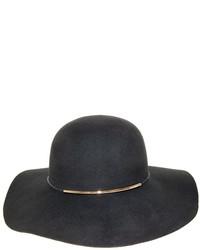 Nine West Black Metallic Tube Accent Wool Felt Floppy Hat