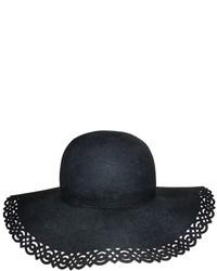 Nine West Black Perforated Trim Wool Floppy Hat