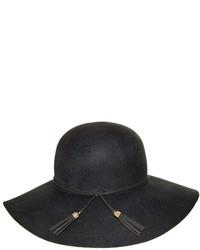 Nine West Black Tassel Wool Felt Floppy Hat