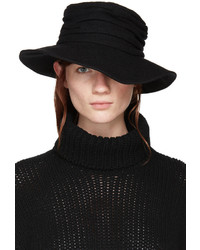 Y's Black Wool Cloche Hat