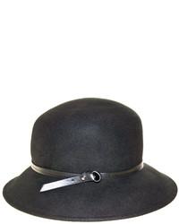 Nine West Black Wool Felt Trench Coat Hat