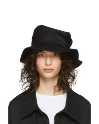 Ys Black Wool Gabardine Belt Hat