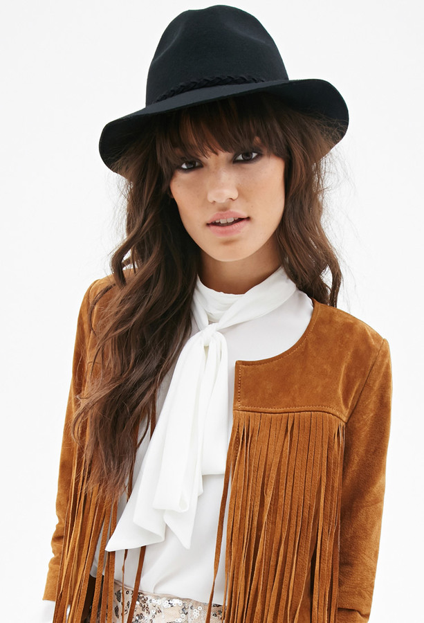 aa9495bc30a77 Forever 21 Braided Band Wool Fedora, $14 | Forever 21 | Lookastic.com