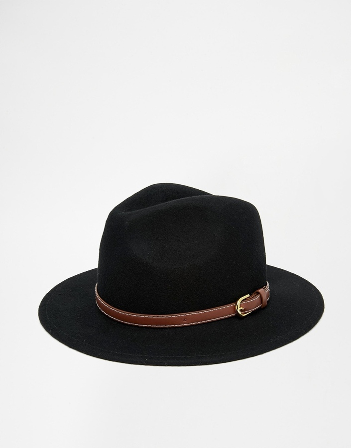 ... Asos Brand Fedora Hat In Black With Faux Leather Trim ... d81b83f34ee
