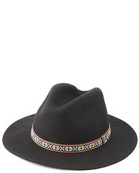 Charlotte Russe Embroidered Ribbon Panama Hat