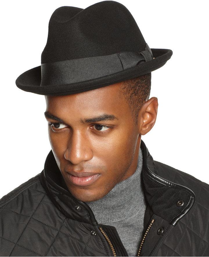 c66cb9fd846 ... Macy s › Black Wool Hats Country Gentleman Floyd Fedora ...