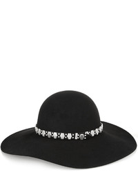 Saint Laurent Embellished Leather Trimmed Rabbit Felt Fedora