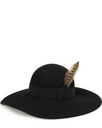 Saint Laurent Feather And Grosgrain Trimmed Rabbit Felt Hat