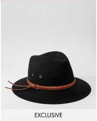Reclaimed Vintage Fedora With Pattern Leather Band