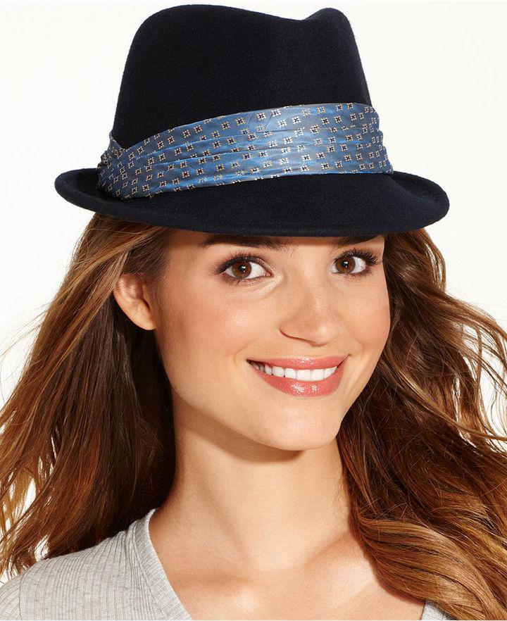 0097890852234 Felt Porkpie Fedora With Wear Band Hat. Black Wool Hat by Nine West