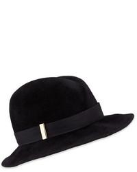 Gigi Burris Nell Handmade Wool Fedora Hat Black