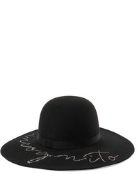Eugenia Kim Honey Crystal Embellished Wool Felt Hat Black