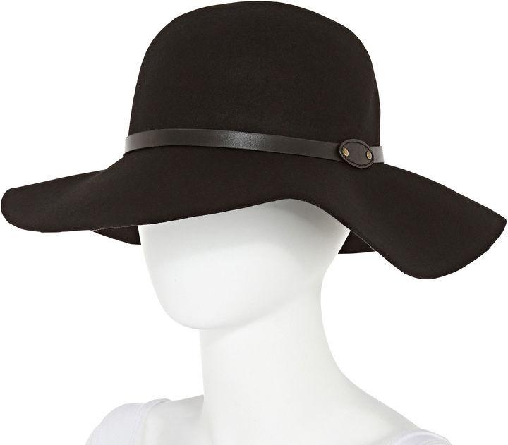 8d602ab1c Manhattan Hat Company Studded Band Black Floppy Wool Hat