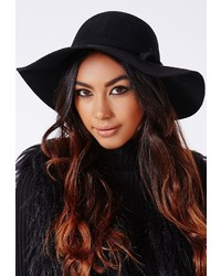Missguided Dory Bow Detail Floppy Hat Black