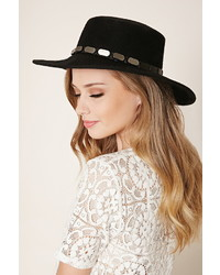 Forever 21 Wide Brim Studded Wool Fedora