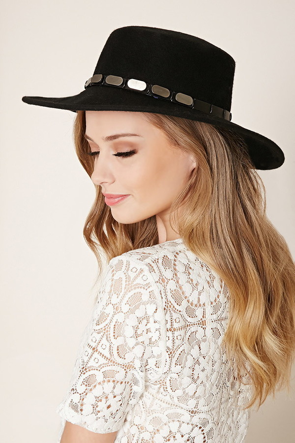 ... Hats Forever 21 Wide Brim Studded Wool Fedora ... 1ceb5c46bbd