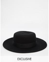Reclaimed Vintage Wool Pork Pie Hat With Wide Brim