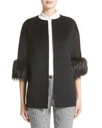 Michael Kors Michl Kors Genuine Fox Fur Trim Wool Blend Jacket
