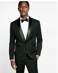 Express Slim Black Wool Blend Tuxedo Jacket