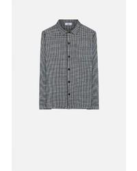 Black Wool Long Sleeve Shirt