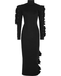 Amber ruffled ribbed wool midi dress black medium 5422669