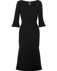 Roland Mouret Dagnall Stretch Wool Crepe Midi Dress Black