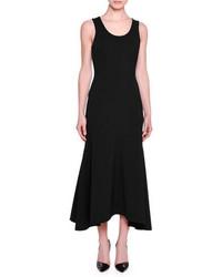 Stella McCartney Sleeveless Flounce Hem Midi Dress Black