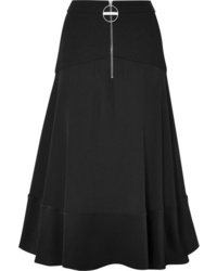 Givenchy Paneled Hammered Silk Satin Wool And Crepe Skirt