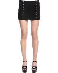 Saint Laurent Buttoned Wool Gabardine Mini Skirt