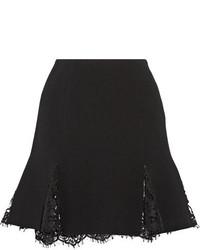 Oscar de la Renta Lace Trimmed Wool Blend Crepe Mini Skirt Black