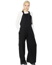 Y's Wide Leg Wool Gabardine Overalls