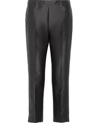 Prada Cropped Wool And Silk Blend Straight Leg Pants Black
