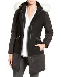 Faux fur trim mixed media drop waist coat medium 1158115
