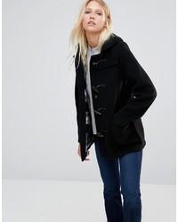 Gloverall Mid Slim Duffle Coat In Black