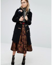 Gloverall Slim Fit Duffle Coat In Long Line With Plaid Lining